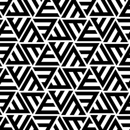 Abstract Black and White Triangular Striped Vector Seamless Pattern