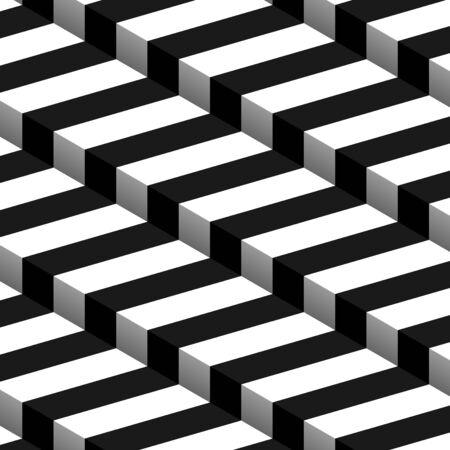 3d Striped Black White Vector Seamless Pattern Ilustracja