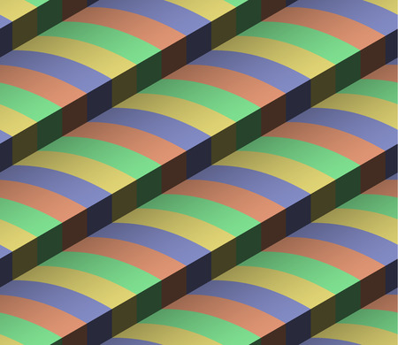 3d Striped Colored Vector Seamless Pattern Ilustracja