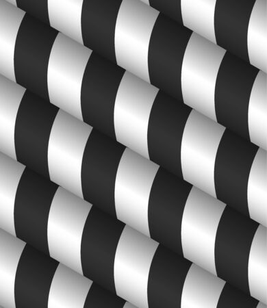 3d Striped Black White Vector Seamless Pattern Ilustracja