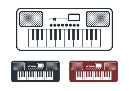 frequency modulation: Synthesizer Icons Set, Flat Design, Vector Illustration