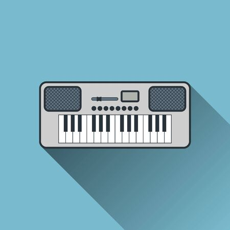 Synthesizer Icon, Flat Design with Long Shadow, Vector Illustration Illustration