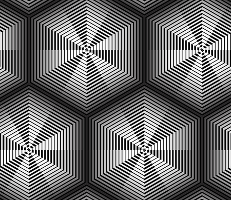 Abstract Hexagon Cells Striped Vector Seamless Pattern