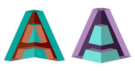 3D Letter A Icon Design Template Tlement, Vector Illustration