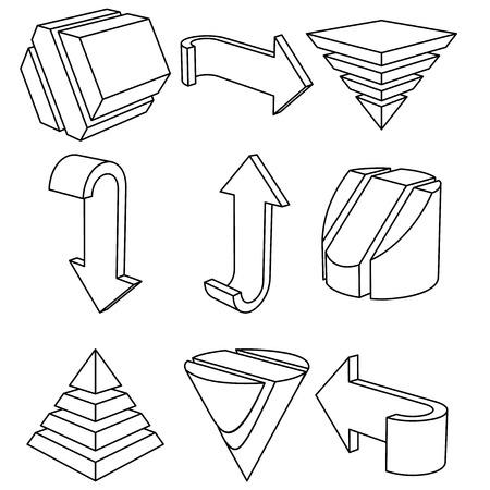 3 D の幾何学的図形、矢印、ベクトル図のセット