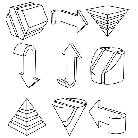 Set of 3D Geometric Shapes and Arrows, Vector Illustration