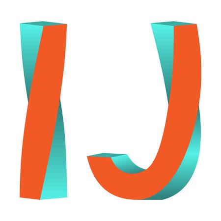 不可能な文字をツイスト I, J ロゴ アイコン デザイン テンプレート Tlement、ベクトル イラスト