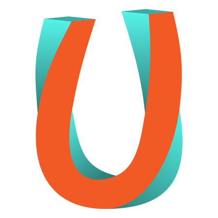 不可能の文字 U ロゴ アイコン デザイン テンプレート Tlement、ベクトル図をツイスト