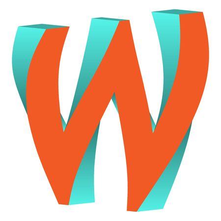 W 不可能文字アイコン デザイン テンプレート Tlement、ベクトル図をツイスト