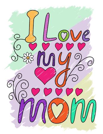 T シャツ タイポグラフィー、ベクトル図を書いて私のお母さんの手が大好き
