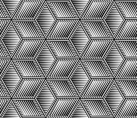 抽象的な黒と白のストライプ シームレス パターン ベクトル