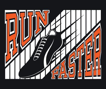 Run Faster T-shirt Typography Graphics, Vector Illustration Vettoriali