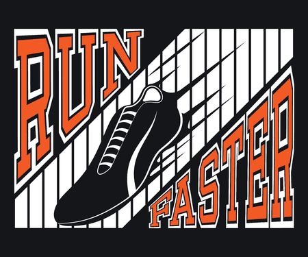 Run Faster T-shirt Typography Graphics, Vector Illustration Ilustracja