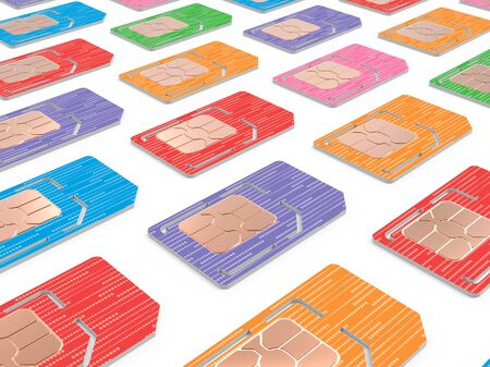 sized: Background of Sim Cards Illustration, Micro and Full Sized Verstion