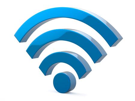 青く金属 Wi Fi 無線ネットワーク シンボル図 写真素材