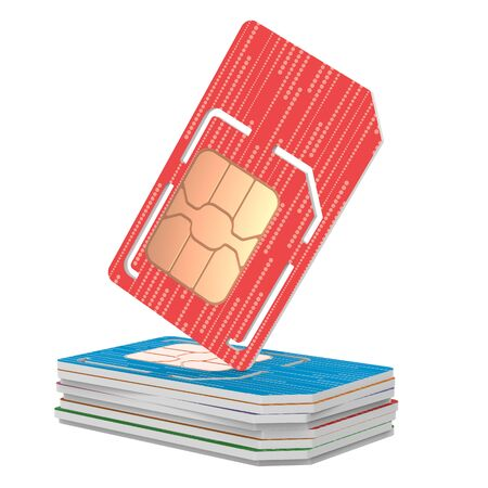 Stack of Sim Cards Illustration, Micro and Full Sized Verstion