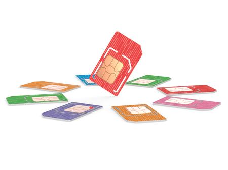 円の Sim のカード イラスト、マイクロとフルサイズのつね 写真素材