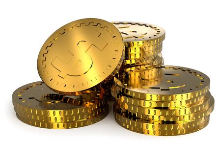 Photorealistic Golden Coins Stacks with Light Reflections Archivio Fotografico