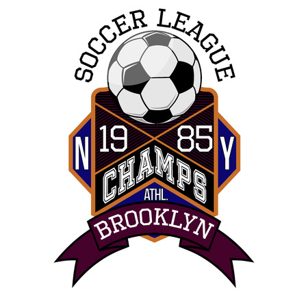 Soccer League New York Champs Brooklyn Team T-shirt Typography Graphics, Vector Illustration Zdjęcie Seryjne - 41078367