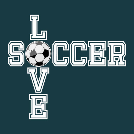 Love Soccer T-shirt Typography Graphics, Vector Illustration Zdjęcie Seryjne - 41078370