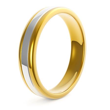 Bi Metal Golden Platinum Wedding Ring Isolated on White Background Archivio Fotografico