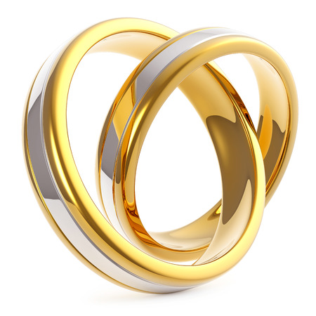 Pair of Bi Metal Golden Platinum Wedding Rings Isolated on White Background