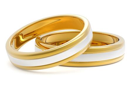 白い背景で隔離の Bi 金属黄金のプラチナ結婚指輪ペア 写真素材