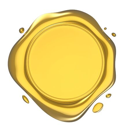 Golden Shiny Wax Seal 3d Illustration Isolated on White Archivio Fotografico