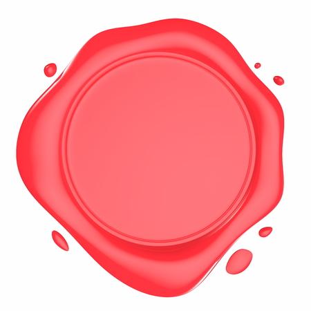 赤い光沢のあるワックス シール白で隔離の 3 d 図 写真素材