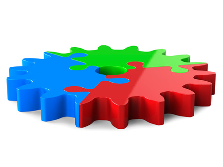 3d Red Green Blue Puzzle Gear, Isolated on White. Partnership Concept.