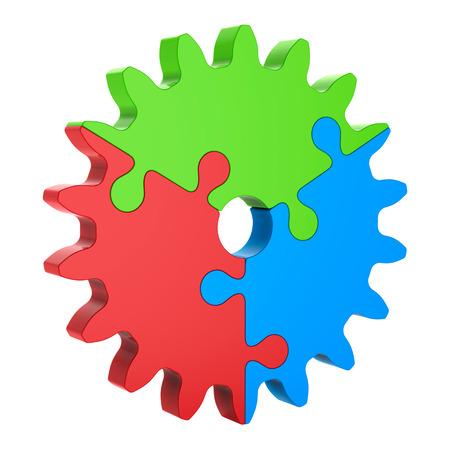 赤青緑の 3 d パズル歯車、白で隔離。パートナーシップの概念。