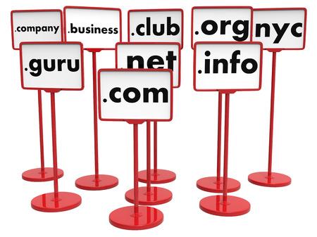 Nameplates with Popular Domain Names, Internet Concept. Archivio Fotografico