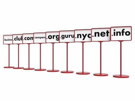 Nameplates with Popular Domain Names, Internet Concept. Zdjęcie Seryjne