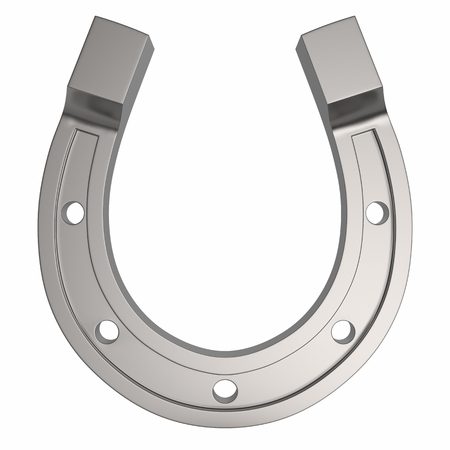 Photorealistinc Metal Horseshoe, Luck Concept, Isolated on a White Background