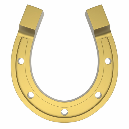 Photorealistinc Gold Horseshoe, Luck Concept, Isolated on a White Background Reklamní fotografie