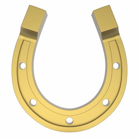 Photorealistinc Gold Horseshoe, Luck Concept, Isolated on a White Background Archivio Fotografico