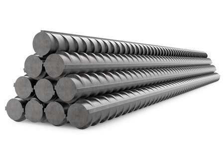 Metal Rebars Stack, Reinforcement Steel, Isolated on White
