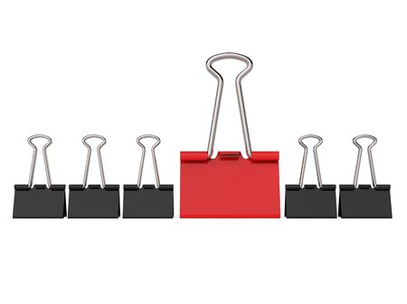 Black and Red Office Clips, One of a Row Concept