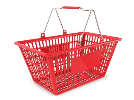 Empty Red Shopping Cart Isolated on White Background