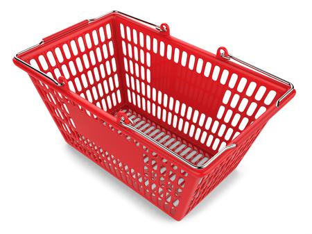 ショッピングカートは、白い背景で隔離赤い空 写真素材