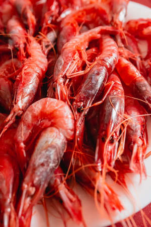 This a tray of Prawn dish. Species called Red Gamba from Garrucha, Almeria, Andalucia, Spain Stockfoto