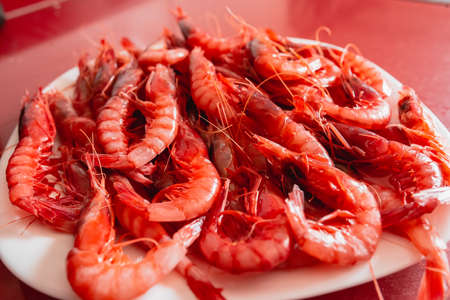 This a tray of Prawn dish facing up. Species called Red Gamba from Garrucha, Almeria, Andalucia, Spain