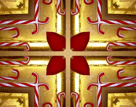 kaleidoscop: Kaleidoscopic View of Candy Canes with Burning Candle Stock Photo