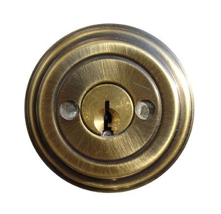 Schield Piece of Dead Bolt Lock Stock Photo