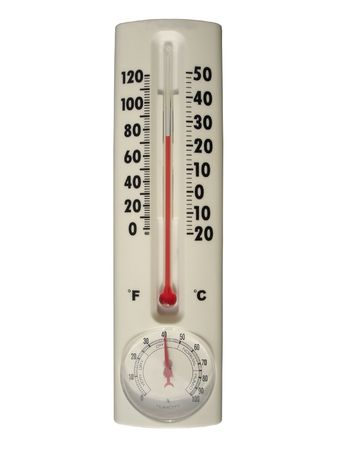 glass thermometer: Normal Comfortable Conditions: Indoor thermometer with Humidity indicator. Isolated