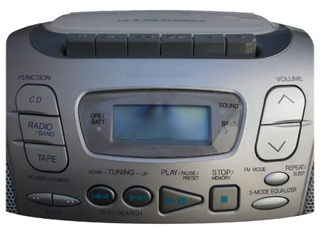 dolby: Controls of Silver Boombox with Tape, CD and Radio Stock Photo
