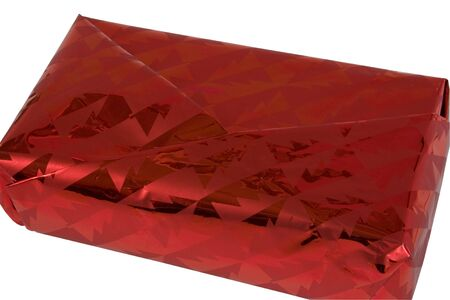 Shiny Red Siver Gift Box. Isolated, Path included in JPG.