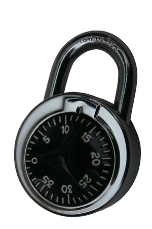 hardened: Lock with Star Dial, Hardened Steel. Isolated, Path included in JPG.