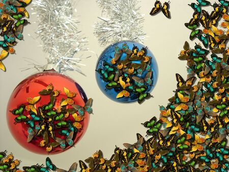Christmas Background - Butterfly Invasion on Decorations Stock Photo