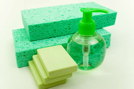 Set of Bar and Soft Soap and Washing Pads photo